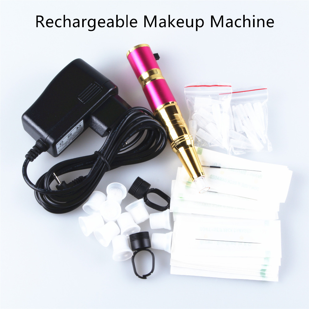 ФОТО 35000rpm Micro Permanent Makeup Machine Pen With Accessories For Tattooing Eyebrow Lips Cosmetics 100V-240V 4 Colors to Choose
