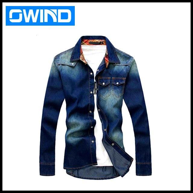 Hotsale long sleeve Charm men's jean shirt ,Denim Wear white men's ...