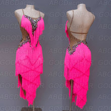 Latin dance competition dress Dress Rhinestone tassel latin ballroom Rumba Foxtrot dresses