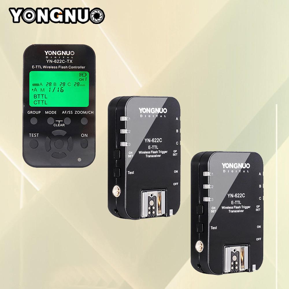 Prix pour Yongnuo YN 622C YN-622C Sans Fil TTL HSS 1/8000 S Déclencheur Flash 2 Émetteurs-récepteurs + 1 Émetteur Pour Canon Russe