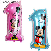 mickey minnie mouse number 1 foil balloons lot helium latex globos baby shower birthday party decor supplies kids toys LUHONGP