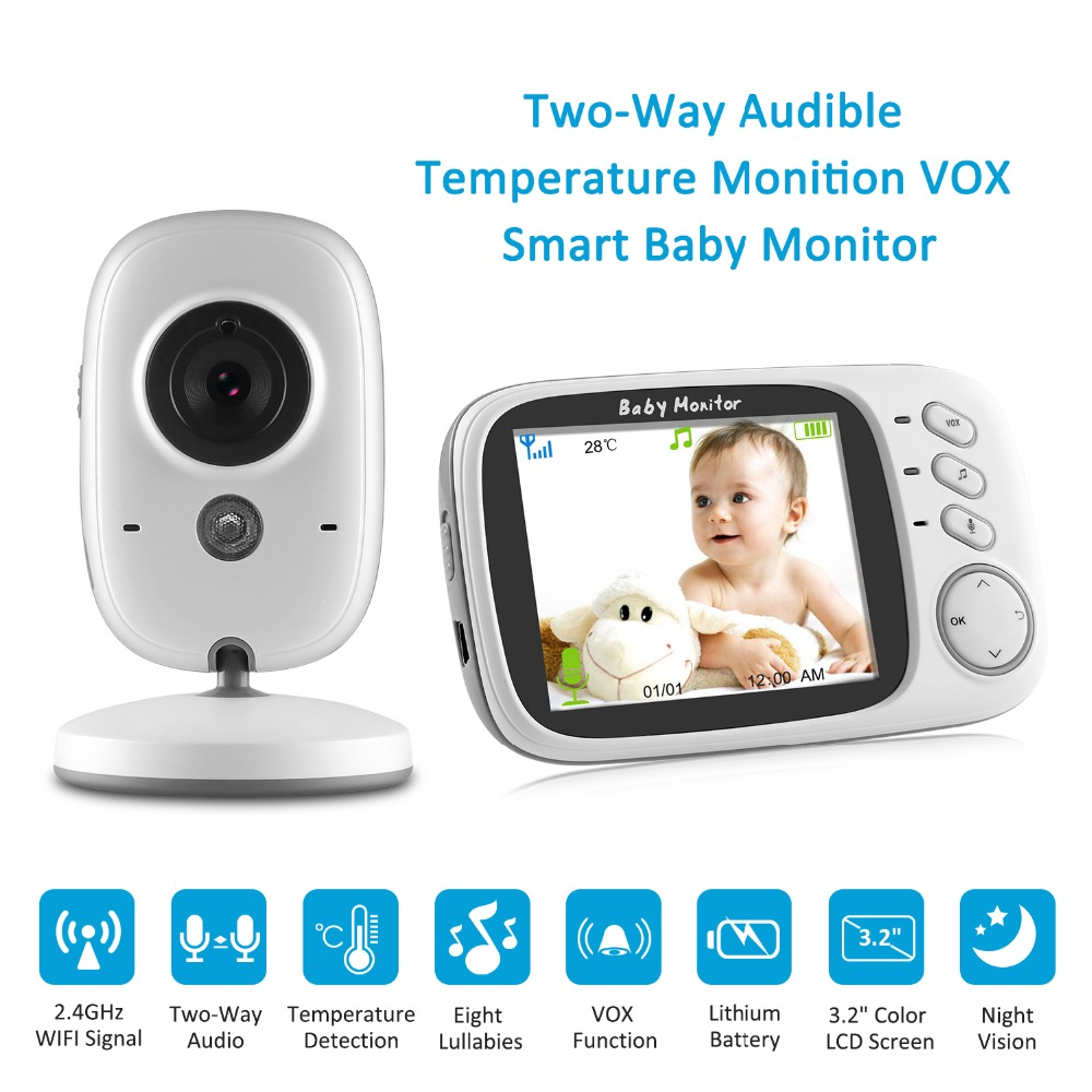 SANNCE 3.2 inch LCD Baby Monitor IR Night Vision 2 way Talk 8 Lullabies Temperature monitor video nanny radio babysitter Cam wireless 2 4 lcd color baby monitor high resolution lullabies kid nanny radio babysitter night vision remote camera newborn gift