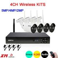 5mp/4mp/2mp Dahua Три Массива инфракрасный Xmeye приложение Водонепроницаемый HD H.265 25fps 4CH 4 канала WI-FI Беспроводной IPCamerakits Бесплатная доставка