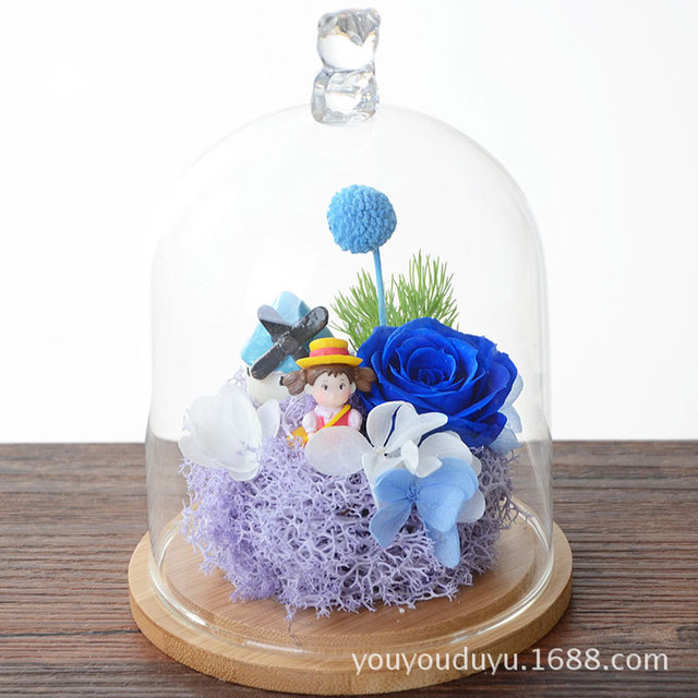 free shipping 15cm Blue Pink Preserved Fresh Rose Micro Landscape ...