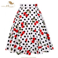 American Apparel Midi Skirt Floral Print Dot Black Red Blue Women Skirt Plus Size Harajuku High
