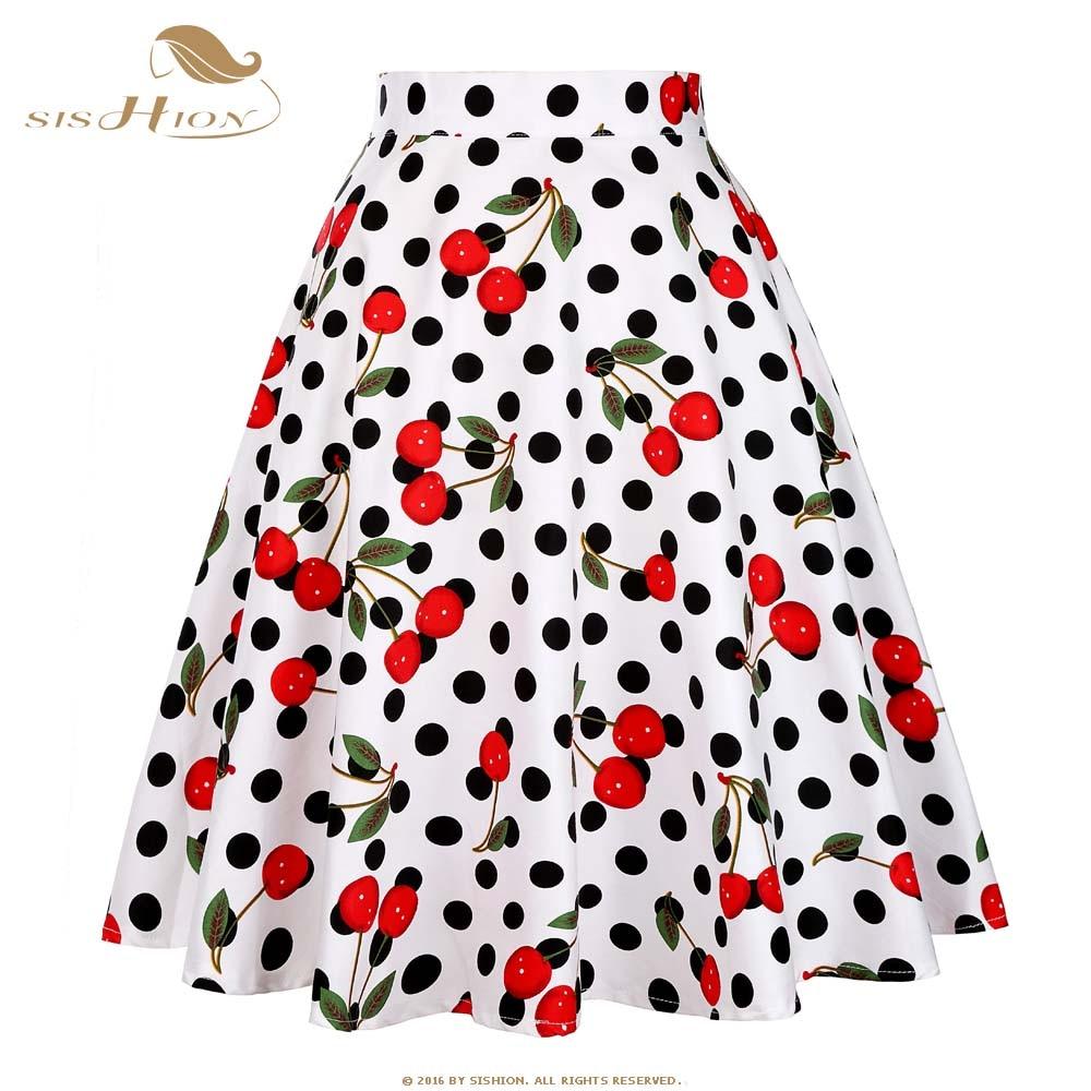 SISHION High Waist Skirts Womens Cotton Vintage Short Tutu School Floral  Dots Black Red Summer Pleated Women Plaid Skirt VD0020-in Skirts from  Women s ... b27f297b1237