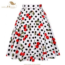 SISHION Skirts Womens Sexy Elegant Vintage Midi Skirt Floral Dot Black Red Blue Plus Size Summer High Waist Skirt Tutu faldas