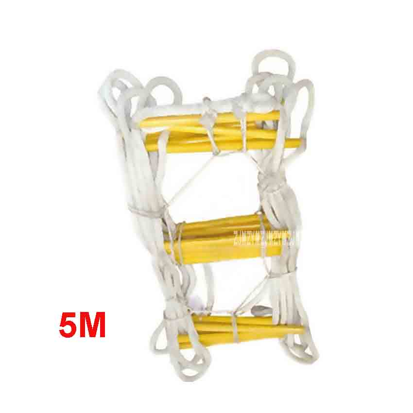 Ladders Earnest New 5m Upgrade Escape Ladder Wear-resistant Reinforced Anti-skid Soft Ladder Fire Inspection Rope Ladder 18-20mm 1-2nd Floor