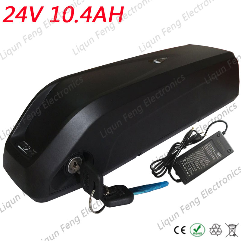 Free Shipping Electric Bicycle Battery 24V 10AH 350W with 2A Charger Built in 15A BMS Lithium Battery 24V 10AH for a bike