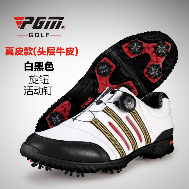 ФОТО Patent Outdoor Golf Shoes Mens Leather shoes laces send activities nail automatic revolving spikes