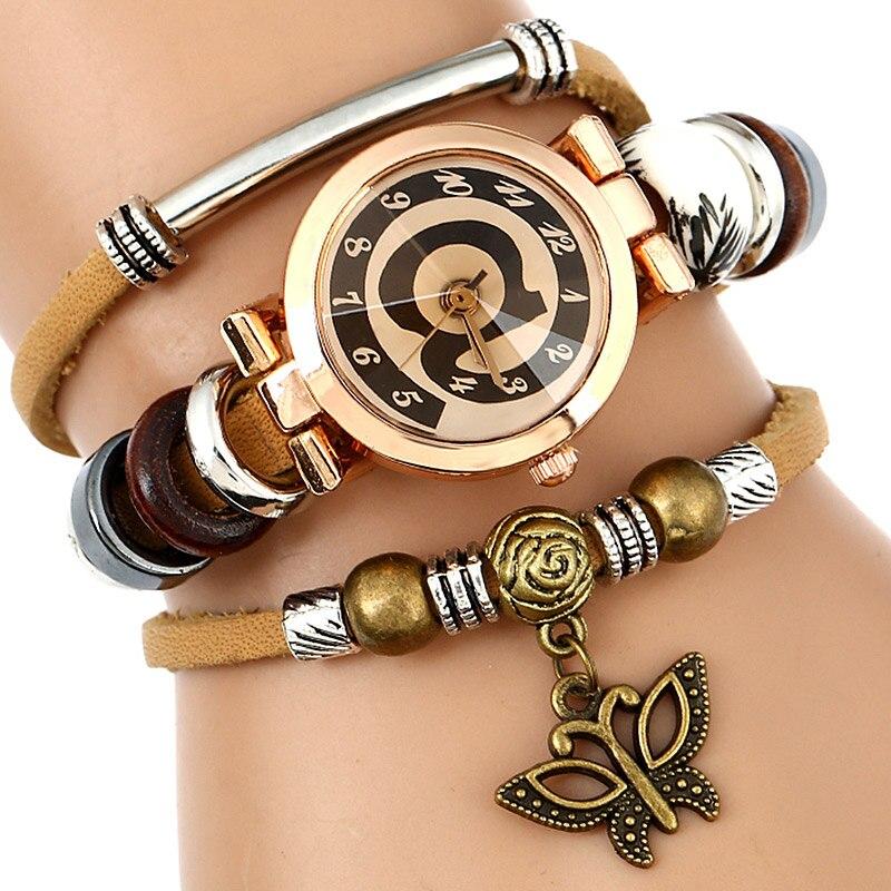 Top Leather Watch Women Triple Armband Armbandsur @ Face Butterfly - Damklockor - Foto 2