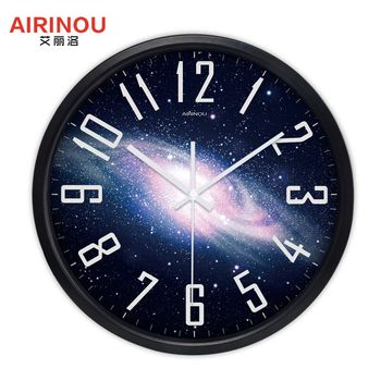 Airinou the Moon Starry Sky and Mars 3 Styles ,Glass&Metal Silent Movement Wall Clock,Children Room Museum Theme Park  Decorate 8