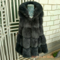 2016 Women Female Real Genuine Natural Fox Fur Vest With A Big Fox Fur Hood Winter Spring Cute Skirt Down Fur Vests Waistcoat