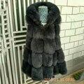 2016 mulheres feminino genuíno real natural fox fur vest com a grande Capuz de Pele De Raposa Inverno Primavera Saia Bonito Para Baixo Coletes De Pele colete