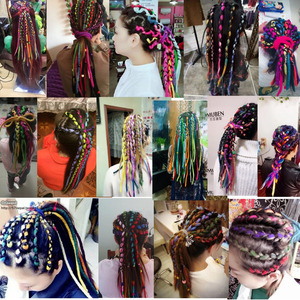 Image 5 - Desire for hair 1bundle 10strands 90cm 120cm long Nepal felted wool synthetic dreadlocks braids hair for kids and adult