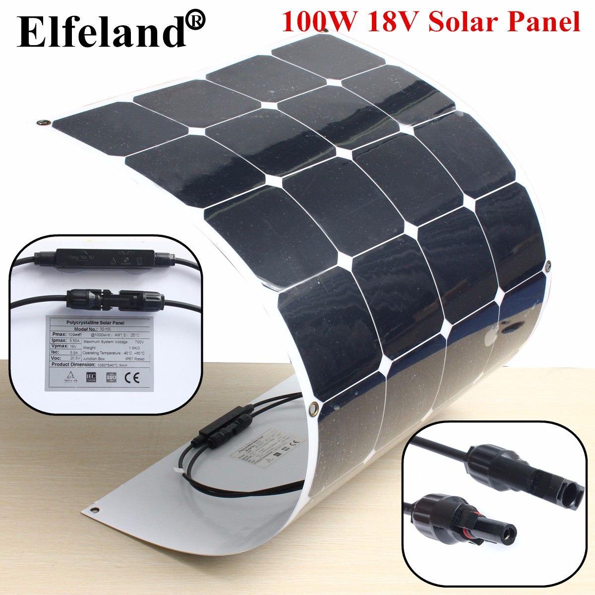 32-10C 100W 18V Semi Flexible Monocrystalline Solar Panel Waterproof High Conversion Efficiency For RV Boat Car + 1.5m Cable