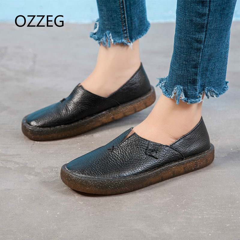2018 Women Shoes Spring Summer Flat Loafers Genuine Leather Slip on Casual Shoes for Women Vintage Hand Made Flats High Quality ribetrini 2018 top quality slik upper crystals slip on spring summer shoes women flats comfortable date easy for walking