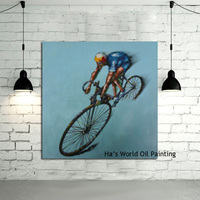 Hand Painted Oil Painting On Canvas Ride Bicycle Art Paintings Modern Decoration Wall Art Living Room Decor Picture No Frame