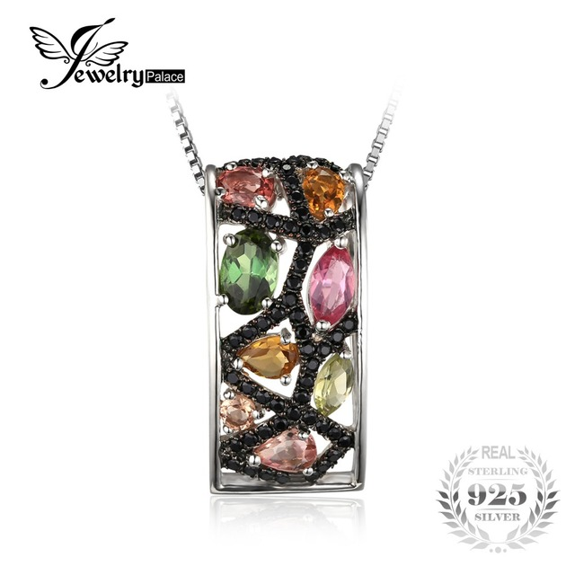 JewelryPalace Halloween 2ct Multicolor Genuine Tourmaline Black Spinel Pendant 925 Sterling Silver