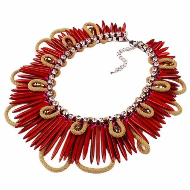 2016 Big Chunky Gargantilla Collar de la Turquesa Gargantillas Collares Joyería Chili Pepper Colgante Para Las Mujeres N3099