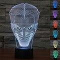USB colorido Coringa 3D Luminaria Lâmpada de Mesa Luz Da Noite LEVOU Interruptor Remoto Iluminação Decorativa Atmosfera Lâmpada Presentes de Natal