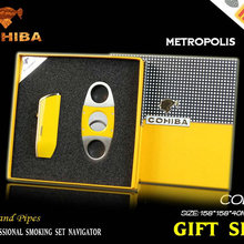 Cohiba прикуривателя и резак комплект Классический желтый путешествия Бизнес сигар подарок