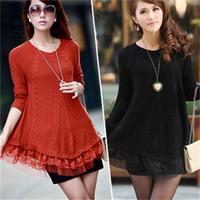 2016 Autumn And Winter New Korean Lace Loose Thickening Wild Slim Was Thin Sweater Women S