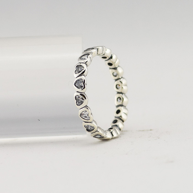 925 Sterling Silver Jewelry Heart Rings with Clear Cubic Zirconia Free Shipping