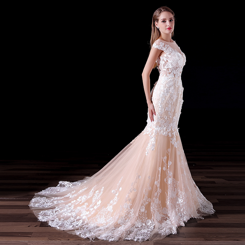 Cream Color Mermaid Wedding Dress Scoop Lace Wedding Gowns Long ...