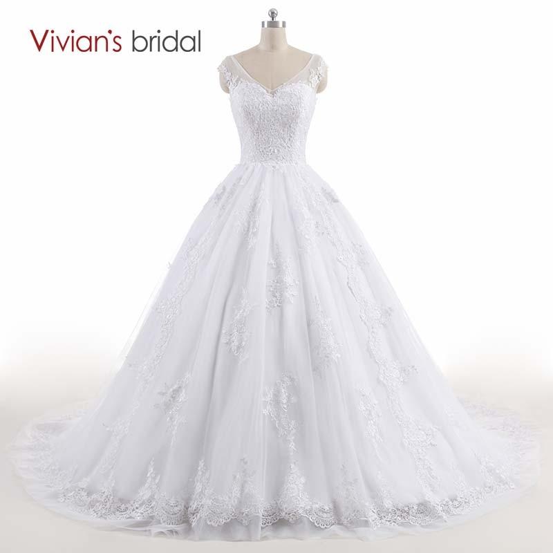 Vivian's Bridal V Halsmuff Sleeve Ärmlös Lace Ball Gown Bröllopsklänningar Brudklänning