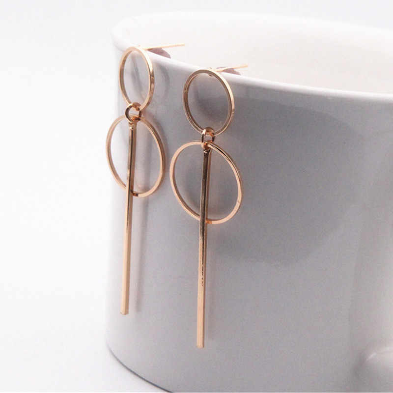 Simple Gold/ Silver 2019 new Fashion Earrings Punk Long Section Tassel Pendant Circle Earrings For Ladies Gifts Wholesale