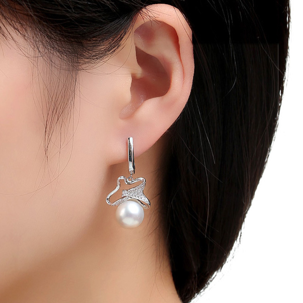 Sinya 2016 new & hot Hand Made Real freshwater pearl 925 sterling silver long sparkling fashion women jewelry drop earrings