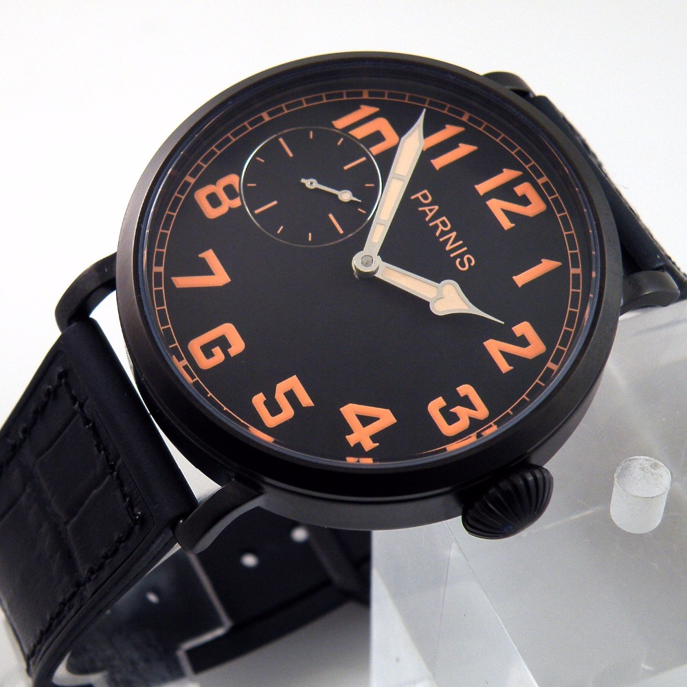 46mm parnis men's leather expression fashion watch waterproof simple manual mechanical watch цена и фото