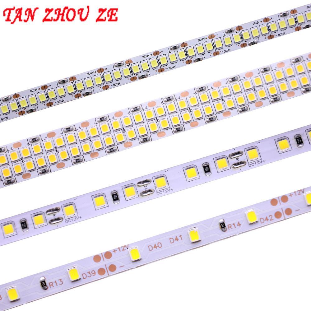 Luz de tira conduzida ww branco neutro 5 m 2835 smd dc24v 12 v 60/120/240/480 leds/m pcb 8mm 10mm 15mm led fita luz de corda 3528