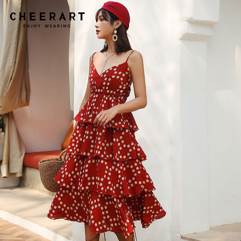fb5e4e46840ca Cheerart Polka Dot Summer Beach Dress Red Backless Spaghetti Strap Dress  Women V Neck Empire Waist
