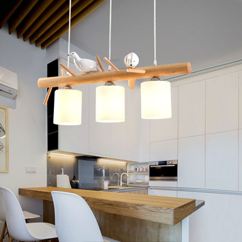 Modern Solid Wood LED Lighting Light Fixture Dinner Table Personality 3-Headed Bird Design Pendant Lamp Nordic Style Home Decor