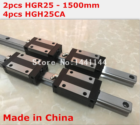 HG linear guide 2pcs HGR25 - 1500mm + 4pcs HGH25CA linear block carriage CNC parts hg linear guide 2pcs hgr25 250mm 4pcs hgh25ca linear block carriage cnc parts