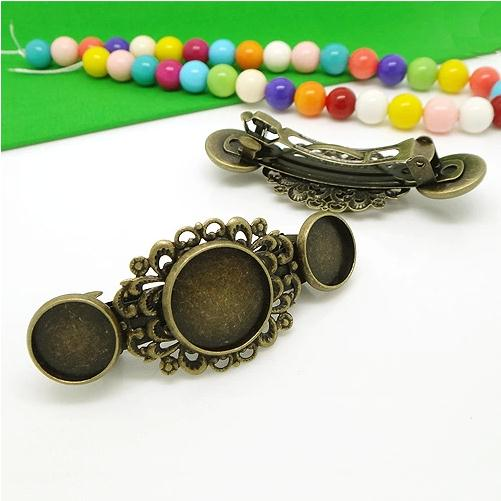 Wholesale 4X Antique Bronze Spring Hair Clips with inner 16mm and Double inner 12mm Bezel Setting Trays for Cabochons
