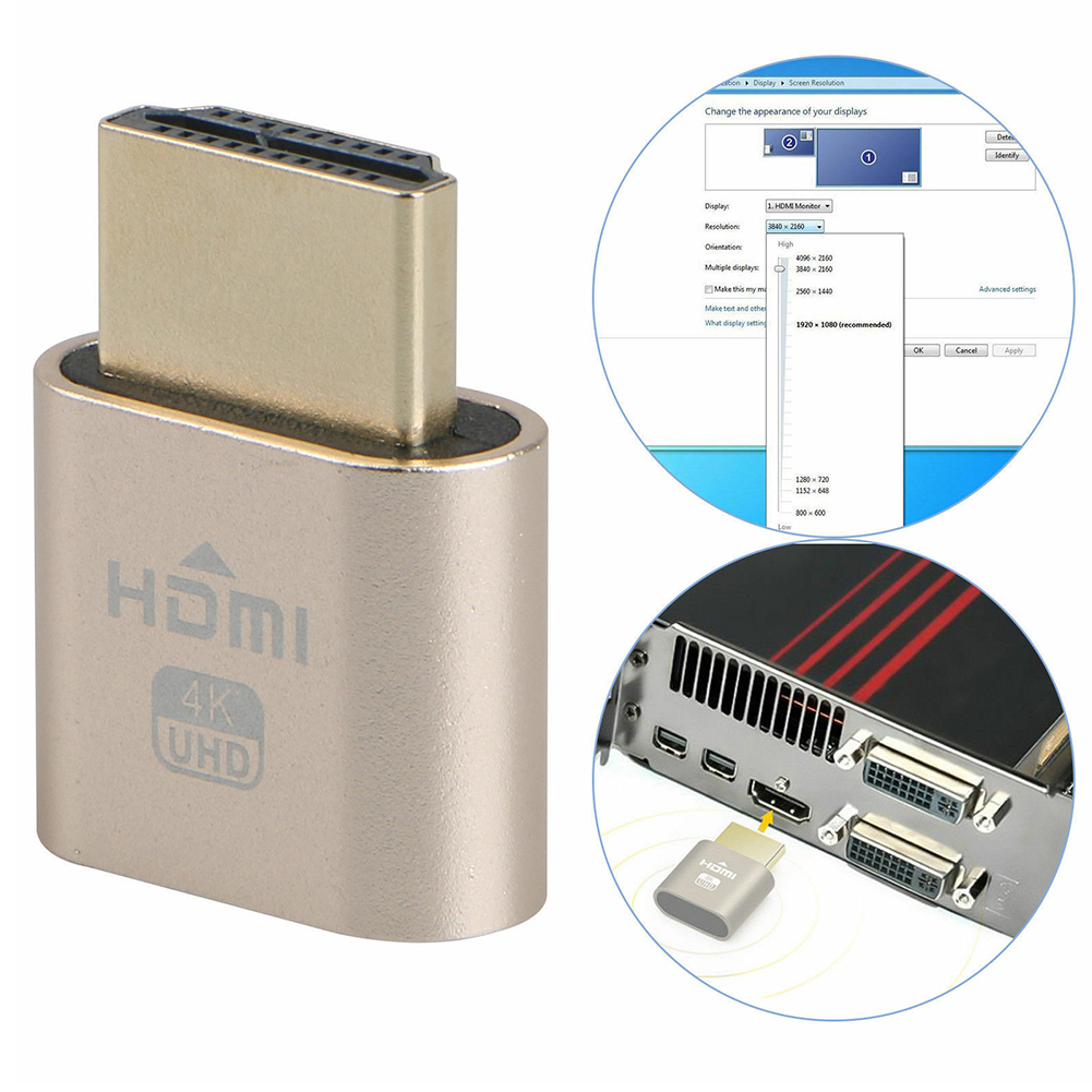 Dummy Plug Headless Small Locking Adapter Computer Accessories Display Emulator Fake HDMI VGA Virtual 1920x1080 4K Block Plate