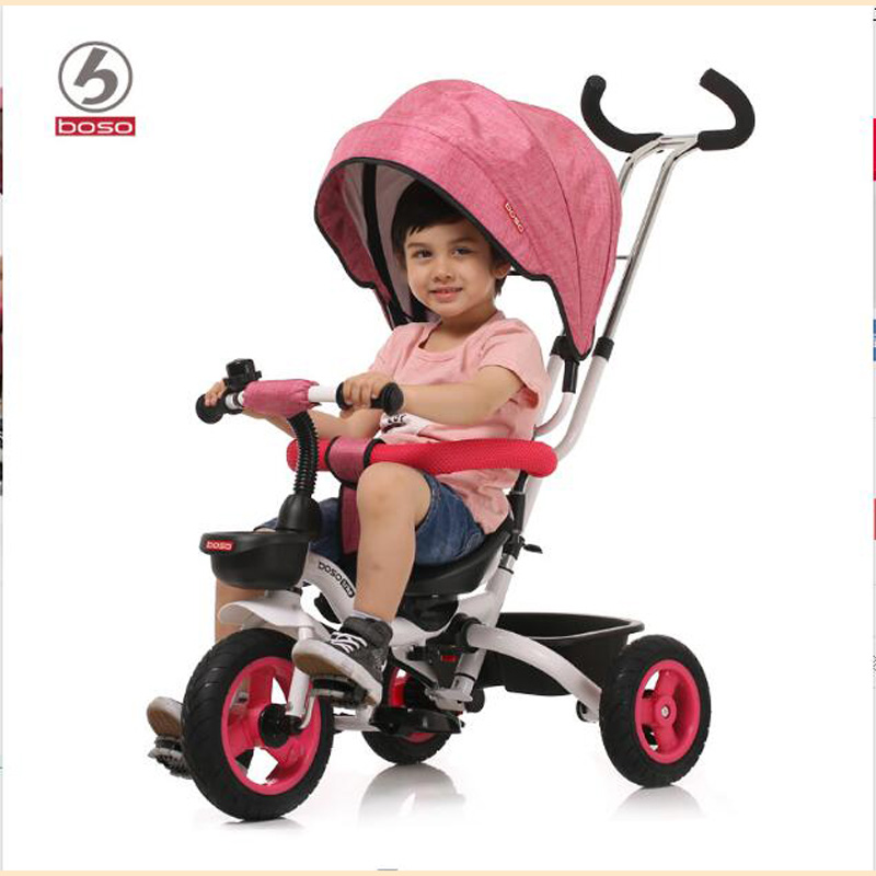 BOSO kids tricycle, one button fold system child tricycle, seat can reverse baby bike, adjust push handle baby walker