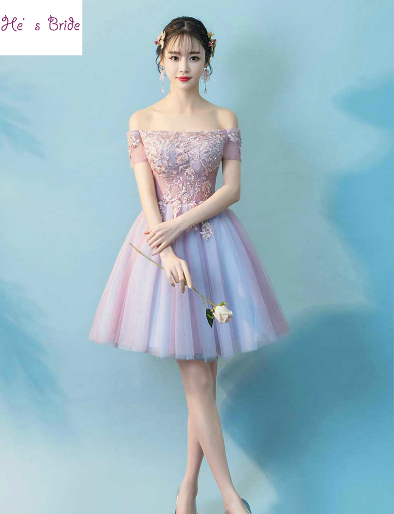 He's Bride New Sweet Purple Pink Lace Cocktail Dresses Boat Neck Knee length Appliques Beading