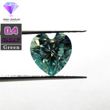 5*5mm 0.4 Carat Green color Moissanite heart Brilliant cut Sic material similar to diamond