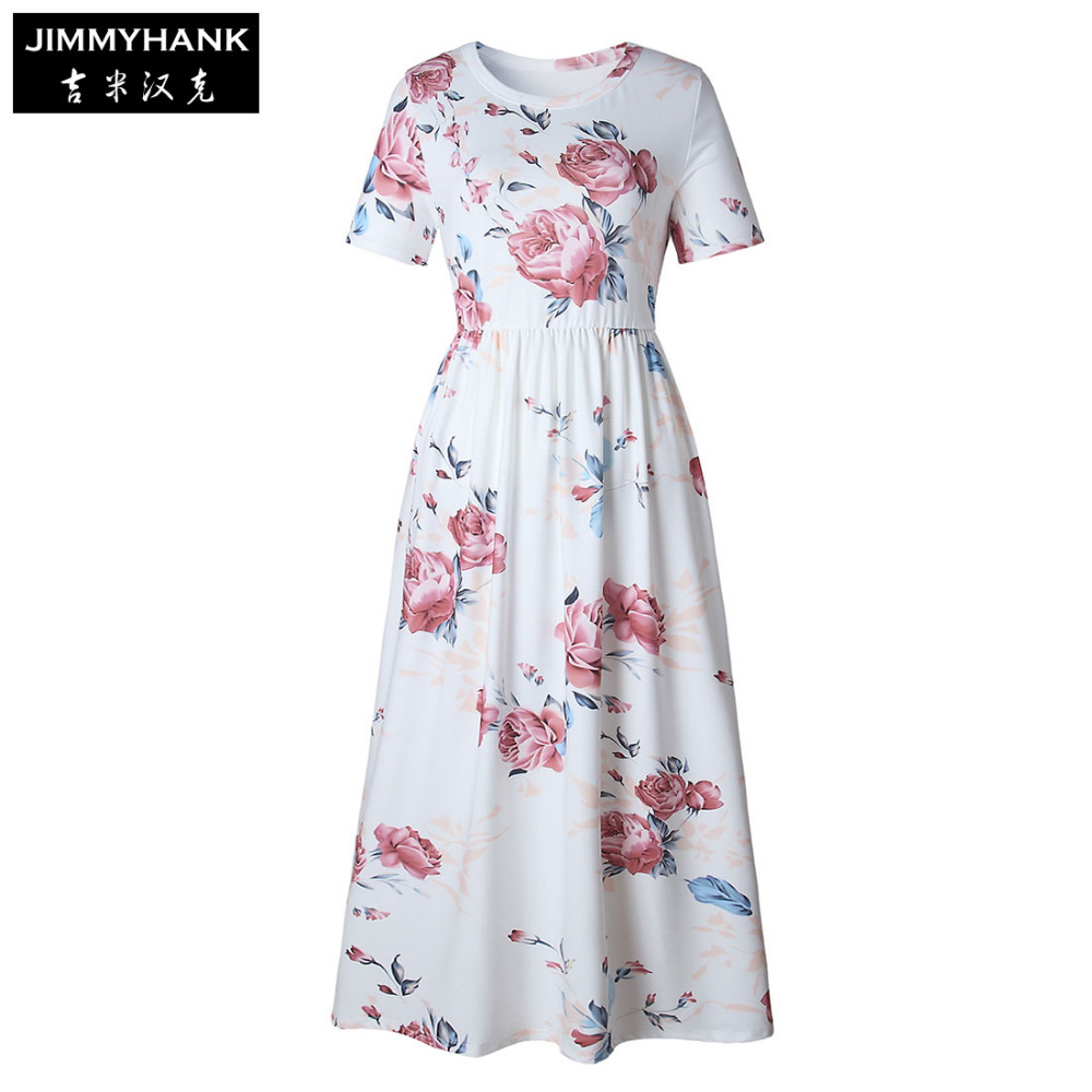JIMMYHANK Official Store 2017 Summer Woman Floral Print Casual Short Sleeve Round Neck Casual Long Dress Beach Maxi Sexy Dresses