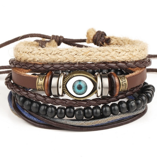 1 Set 4PCS leather bracelet Men's multi-layer bead bracelet women's retro punk casual men's jewelry bracelet jewelry accessories 5
