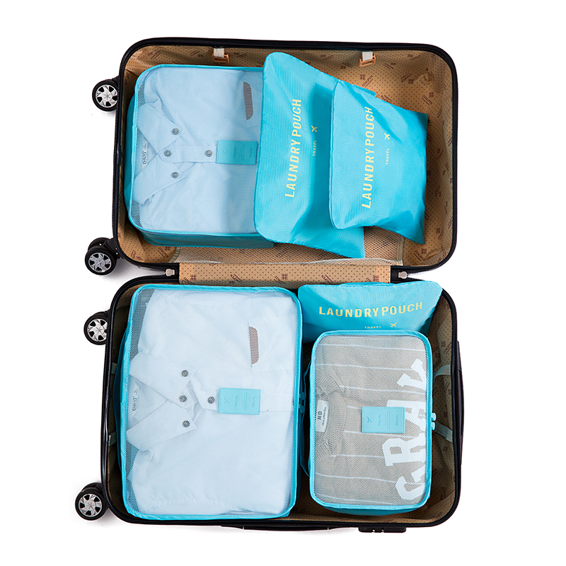 Iux nylon packing Cube Travel bag sistema durable 6 unidades one set gran capacidad de Bolsas unisex ropa clasificación organizar