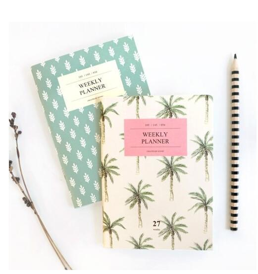 A6 Mint Tree Mini Notebook and Journals 54P Weekly Planner Organizer Agenda 2016 2017 papelaria School Material Escolar цены