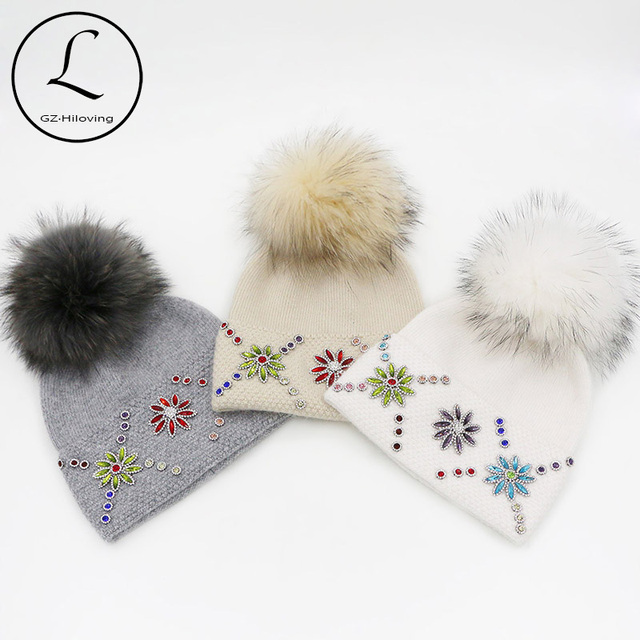 GZHILOVINGL 2016 New Elegant Brand Womens Ladies Luxury Hats With Pearl Wool Knitted Skullies And Beanies With Real Fur Pom Pom