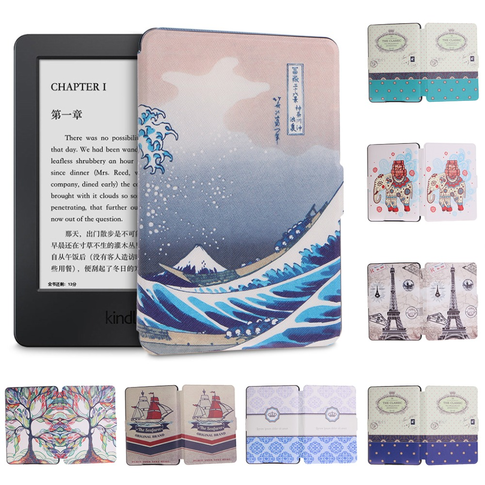 Slim Faux Leather Folio Flip Case Protective Shell Skin Cover 6 Inch For Amazon Kindle Paperwhite 1/2/3 C26 mdfundas flower animal pattern cover for amazon kindle paperwhite 1 2 3 case flip stand leather shell for kindle paperwhite 3