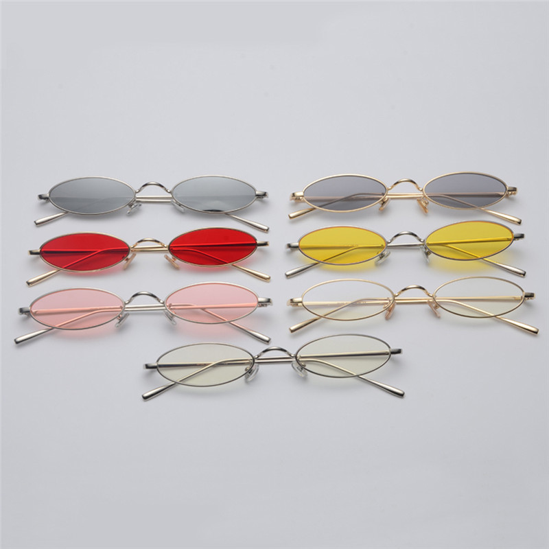 f6cf6573e2fb MINCL 2018 Fashion Small Oval Metal Frame Chic Clear Candy Color Lens  Sunglasses for women unisex uv400 with box FML-in Sunglasses from Apparel  Accessories ...