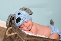 Free Shipping Cute Handmade Crochet Newborn Dog Puppy Hat With Matching Diaper Cover 2pcs Baby Sets
